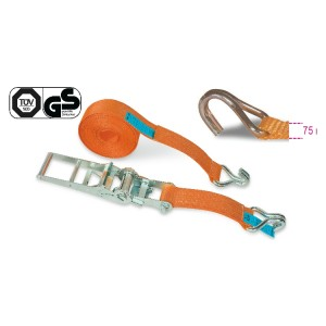 Ratchet tie down with single hook, LC 5000 kg, high-tenacity polyester (PES) belt