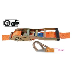 Reverse ratchet tie down, long lever, with single hook, LC 2500 kg, high-tenacity polyester (PES) belt
