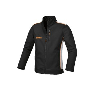 Softshell jacket, made of 100% polyester, 320 g/m2, three-layered, microfibre outer shell, waterproof, breathable intermediate membrane, fleece interior