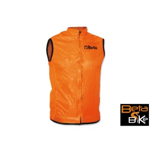 Sleeveless wind stopper jacket, breathable bound fabric, long zip