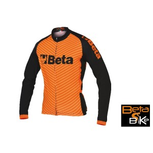 Winter jersey, breathable fabric, raised inside, long zip, three rear pockets, silicone elastic at jersey end