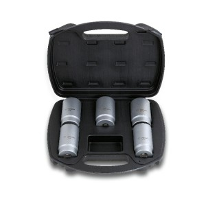 Set of 5 hub nut locking sockets in plastic case