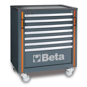 Mobile roller cab with seven drawers, for workshop equipment combination