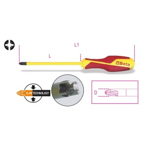 Κατσαβίδια για συνδυασμό βίδες με σταυρό PZ + ακέφαλες βίδες με εγκοπή