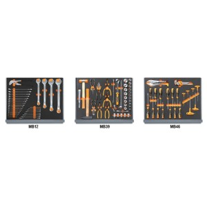 Συλλογή με 98 εργαλεία για επισκευές οχημάτων σε μαλακούς δίσκους τακτοποίησης