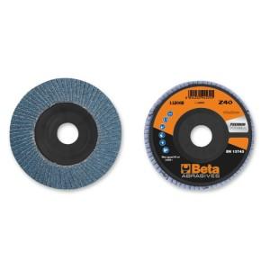 Discos de láminas con tela abrasiva de circonio, soporte de plástico, monolámina, perfil plano