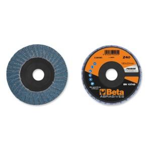 Discos de láminas con tela abrasiva de circonio, soporte de plástico, bilámina, perfil plano