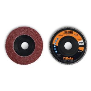Discos de láminas con tela abrasiva de corindón, soporte de plástico, monolámina, perfil plano