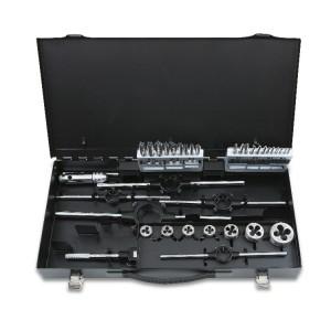 Surtido de machos y terrajas  de acero HSS y accesorios  roscado métrico en caja metálica