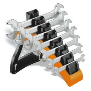 Juego de 7 llaves fijas de dos bocas abiertas con soporte