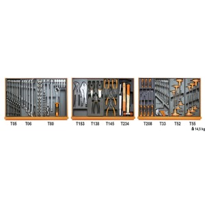 Surtido de 99 herramientas para reparación de autovehículos en termoformados rígidos