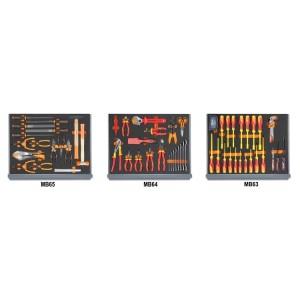 Surtido de 96 herramientas para electrotecnia en termoformados de espuma