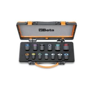 """Juego de 13 llaves de vaso de impacto de colores con cuadrado 1/2"""", fosfatadas, en caja de metal"""