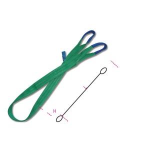 Eslingas de elevación, 2t, verde, cinta plana de dos capas, ojales reforzados, poliéster de alta tenacidad (PES)