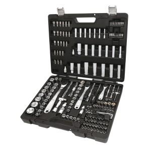 Surtido de 74 llaves de vaso hexagonales, 42 puntas de atornillar, 30 vasos destornilladores, 7 llaves macho hexagonales acodadas y 17 accesorios, en caja de material plástico