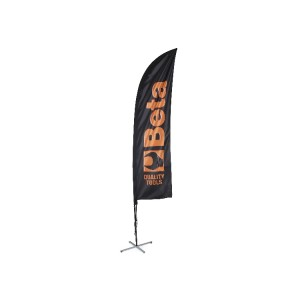 Bandera de vela 2,5x0,50 m con asta de aluminio base de cruz con lastre redondo