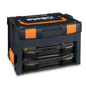 Maletín porta-herramientas COMBO en ABS, vacío, con 2 cajas porta-piezas pequeñas transportables