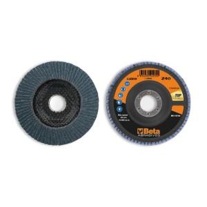 Discos de láminas con tela abrasiva de circonio, soporte de fibra de vidrio, monolámina, perfil cónico