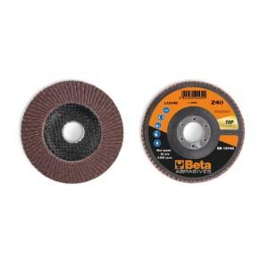 Discos de láminas con tela abrasiva de corindón, soporte de fibra de vidrio, monolámina, perfil plano