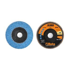 Discos de láminas con tela abrasiva de circonio cerámico, soporte de plástico, monolámina, perfil plano