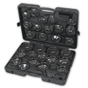 Juego de 28 llaves de vaso para filtros de aceite en maleta de plástico