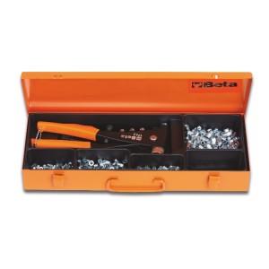 Remachadora 1742 con surtido  de 400 elementos roscados de acero