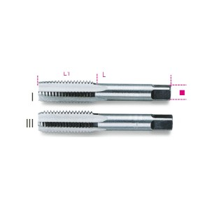 Machos para roscar manuales,  paso fino, roscado métrico  de acero al cromo