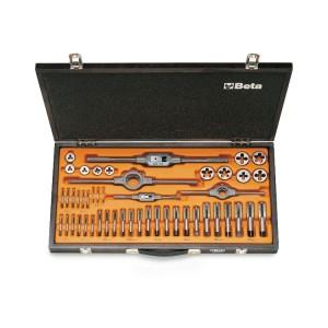 Surtido de machos y terrajas  de acero al cromo y accesorios  roscado métrico en caja de madera