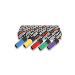 Juego de 5 llaves de vaso de impacto con elementos poliméricos coloreados para tuercas de ruedas