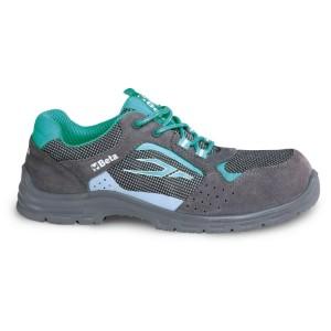 Zapatos de mujer  de ante perforado con elementos en malla