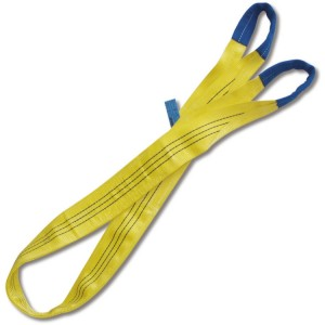 Eslingas de elevación, 3t, amarillo, cinta plana de dos capas, ojales reforzados, poliéster de alta tenacidad (PES)