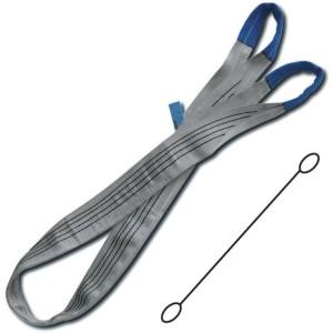 Eslingas de elevación, 4t, gris, cinta plana de dos capas, ojales reforzados, poliéster de alta tenacidad (PES)