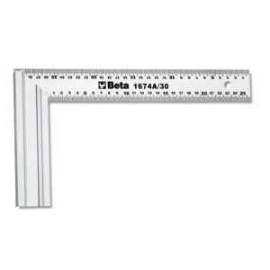 Equerre de menuisier,  lame en acier talon en aluminium,  double échelle millimétrique