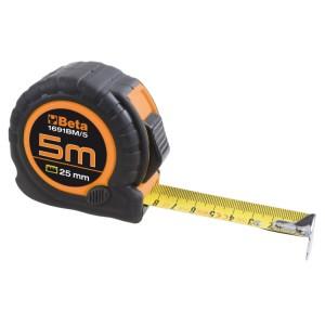 Mètre à ruban boîtier ABS antichoc bi-matières Ruban en acier Classe de précision : II