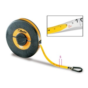 Mesure longue à ruban  boîtier en ABS antichoc,  ruban en fibre de verre recouvert de PVC,  classe de précision III
