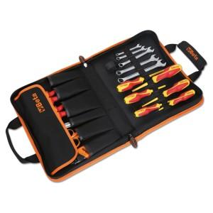 Trousse en tissu technique avec assortiment de 24 outils pour électriciens