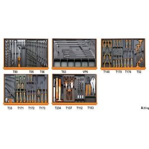 Composition de 153 outils pour la réparation automobile en plateaux thermoformés rigides en ABS