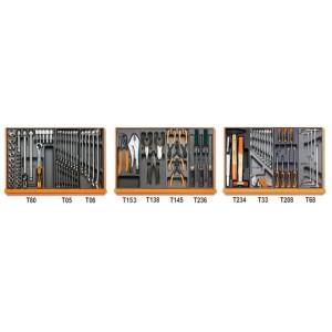 Composition de 98 outils pour la maintenance industrielle en plateaux thermoformés rigides en ABS