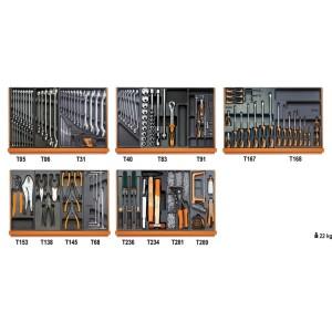 Composition de 153 outils pour la maintenance industrielle en plateaux thermoformés rigides en ABS