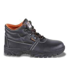Chaussure montante type Brodequin en cuir pigmenté hydrofuge  avec semelle en caoutchouc haute résistance,  délacage rapide