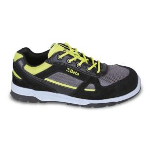 Chaussure basse en croûte de velours  avec inserts en nylon mesh et carbone