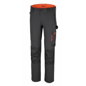 Pantalon de travail Gris stretch, léger, multipoches, 86% nylon - 14% élasthanne, 140 g / m2, Poches pour genouillères, poches arrière renforcées en polyester 300D, Rempiècement à l'entrejambe. Coupe ajustée