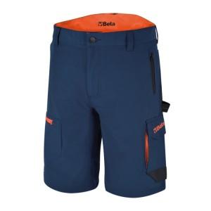 Bermuda de travail Bleu stretch, léger, style multipoches, 86% nylon - 14% élasthanne, 140 g / m2, Poches arrière renforcées en polyester 300D, entrejambe indéchirable Coupe ajustée