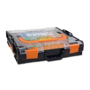 Coffret porte outils en ABS, avec couvercle transparent - + kit 18 bacs - Vide