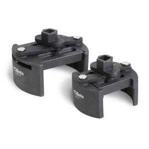 Clé auto-serrante pour filtres à huile, serrages à droite et gauche, pour poids-lourds.