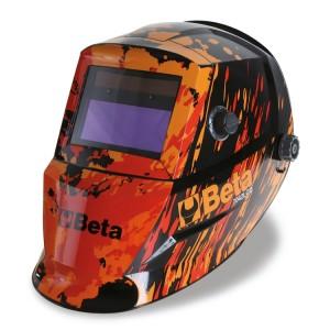 Masque LCD à obscurcissement automatique pour soudage à l'électrode; MIG/MAG; TIG et plasma. Alimentation par cellules solaires et batteries au lithium pour une durée exceptionnelle du filtre LCD