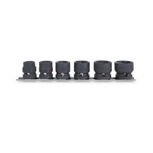 Jeu de 6 douilles à chocs compactes avec guide de fixation au mur : 13 - 15 - 17 -19 - 22 - 24 mm
