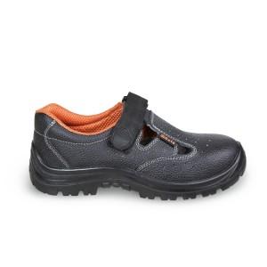 Chaussure basse type sandale aérée en cuir pigmenté