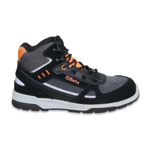 Chaussure montante en croûte de velours et microfibre,  hydrofuge, avec inserts en carbone