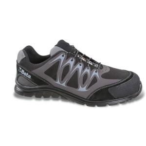 Chaussure basse en micro-croûte de velours hydrofuge avec inserts PU Haute Fréquence et couvre-embout de protection en croûte de velours.